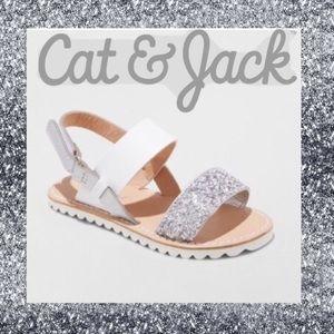 8T🆕Non-Marking Adjustable Silver Glitter Sandals